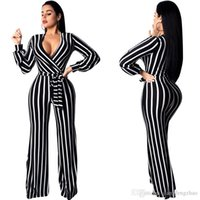 02f26949e78 Black White Vertical Striped Sexy Jumpsuits For Women Deep V Neck Full  Sleeve Wide Leg Bodysuit Elegant Sashes One Piece Overall
