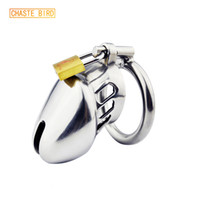 Wholesale male chastity devices bird cage resale online - Chaste Bird Stainless Steel Male Chastity Device cock Cages virginity Lock chastity Belt penis Ring penis Lock cock Ring A077 Y19070602