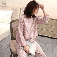 милые женские пижамы оптовых-Топы женские пижамы милые в горошек повседневная пижама брюки с длинным рукавом пижамы 2шт женщина пижамы