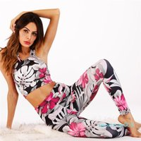 Wholesale yoga pants sex resale online - Digital Printing Women Sex Push Up Padded Top And High Waist Fitness Pants Tracksuits Gym Yoga Two Piece Workout Sets