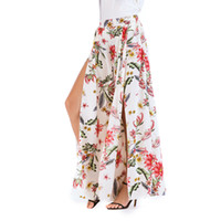 c331598add9f Floral Print Wide Leg Pants Women Long Casual Pant Summer Boho Beach  Elastic High Waist Chiffon Trousers SJ1830