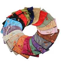 sacs à main de broderie de soie achat en gros de-1 pc Traditionnel Soie Voyage Pochette Classique Chinois Broderie Bijoux Emballage Sac Organisateur Sacs À Main