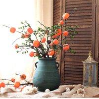 ingrosso frutta di vite-piante artificiali viti ramo 6 frutto cachi frutta floreale forma bacca frutta decorazione domestica accessori giardino decorazione piante finte