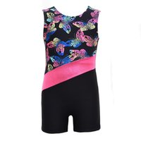 vêtements de ballet filles achat en gros de-Enfant en bas âge filles sans manches imprimé Radium Couleur Costume Body Athletic Justaucorps Ballet Gymnastique pour Enfants Dance Wear