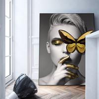 ingrosso pittura bianca nera dell'arte moderna-Modern Home Deco sexy nero bianco donna affascinante del labbro di bellezza della tela di canapa della pittura di arte della parete di modo Picture farfalla per Living Room