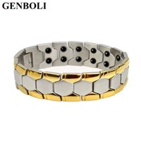 Wholesale health energy care bracelet for sale - Group buy Magnetic Titanium Bio Energy Bracelet For Men Blood Pressure Health Care Bracelets Fashion Jewelry New year gift