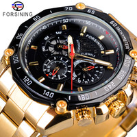 Wholesale three dial mens watch resale online - Forsining Golden Stainless Steel Three Dial Design Mens Racing Sport Automatic Wrist Watches Top Brand Luxury Relogio Mechanical