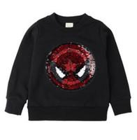 modell kleidung für jungen großhandel-Ins Explosion Models Boy Sweater ändert die Kleidung Spider-Man-Änderung Der US-amerikanische Kapitän Pailletten kann Kinderkleidung aus Baumwoll-Hoodie wenden