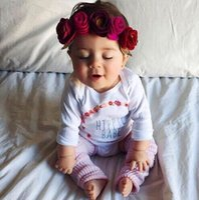 photo de fille de bébés achat en gros de-Nouveau bébé européen fleur postiche enfants mode partie chapellerie fille princesse guirlande enfants coiffe photo graphy