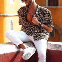 ingrosso uomini della camicia del manicotto del leopardo-Camicia da uomo hawaiana maschile stampato casual uomo Baggy Beach Leopard stampa manica corta pulsante retrò camicie top camicetta S-3XL