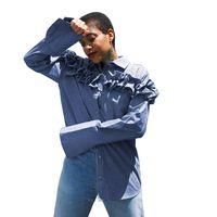 mädchen rüsche lange ärmel bluse großhandel-Frühling Denim Shirts Frauen Ruffle Blue Square Neck Lange Aufflackernhülse Einreiher Lose Langes Hemd Mädchen Mode Top Bluse