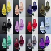 ingrosso uomini pelliccia calda-Caldo Pantofole da donna design per uomo Piumino Fc Rihanna Pantofola in ecopelle Pantofole da donna per uomo Sandali interni Scuff moda Rosa In vendita