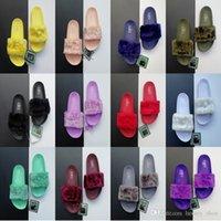 los hombres de piel caliente al por mayor-Puma Hot Mens Mujer Diseñador Zapatillas Leadcat Fenty Rihanna Faux Fur Slipper Mujeres hombres zapatillas Sandalias de interior Fashion Scuffs Pink For sale