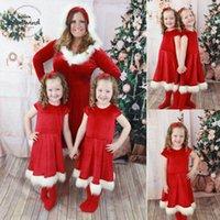 ropa de fiesta roja para mujer al por mayor-Cap vestido del oscilación de chicas Womens Red Christmas Dress hija ropa de fiesta de Santa madre de la manga del nuevo de la gota del vestido del diseñador del envío