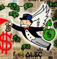 Wholesale modern wall oil paintings resale online - Modern Abstract Handpainted Alec Monopoly Brainwash Bansky Oil Painting on Canvas Urban art Wall Decor Angel Multi Sizes G180