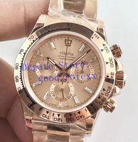 relógio automático mens ouro suíço venda por atacado-3 Cor dos homens de Luxo Relógio Cronógrafo Mens Automático Cal.4130 Diamante Relógios de Ouro Rosa Homens Eta 116505 Cosmograph Swiss 116515 Wristwatche