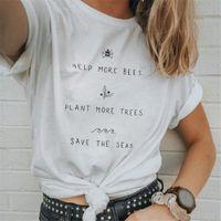 gelbe grafische t-shirts großhandel-Sommer O Neck Kurzarm T-Shirt Tops Frau Print Letters Graphic Tees Frauen Pflanzen mehr Bäume T-Shirt Gelb Weiß Tops XXL