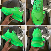 ingrosso zapatos chiaro-Con la scatola 2019 New Fashion Triple S Designer Dad Shoes Migliore qualità Triple-S Zapatos verde scuro Clear Sole Uomo Donna Scarpe casual Sport