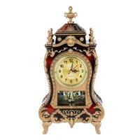 bureau de styles de maison achat en gros de-Horloge de table en plastique de style vintage Antique Home Hotel décoratif bureau réveil (rouge brunâtre) 2019