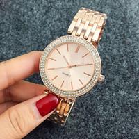 ginebra reloj mujer rojo al por mayor-Ultra delgada de diamante mujeres del reloj de señora diseñador de relojes de lujo vestido de las señoras de la hebilla plegable femenina aumentó regalo del reloj de pulsera de oro para la niña