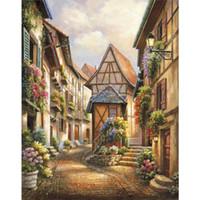 pinturas de casas mediterraneas al por mayor-Arte moderno sobre lienzo, pinturas, decoración del hogar pintada a mano, corte del pueblo mediterráneo