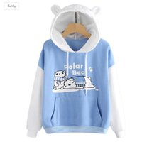 urso kawaii venda por atacado-Kawaii Adorável regular Ear Carta Polar Bear Splice camisola Animal Print bonito Kangaroo bolso Hoodie Com o Pocket