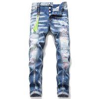 jeans rotos parcheados para hombre al por mayor-pantalones vaqueros rasgados para hombre ligero D2 azul personalidad parche cartel de los pantalones vaqueros de la cintura bordado tendencia elástica de marca para hombre