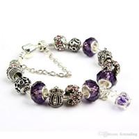 pulseras de cuentas personalizadas al por mayor-19 CM Charm Bracelet Silver Pandora Bracelets Para Mujeres Royal Crown Bracelet Purple Crystal Beads Diy Joyería con logotipo personalizado