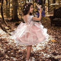 kabarık parti elbisesi toptan satış-Kızlar Için sevimli Toddler Prenses Parti Elbise Çocuklar Dantel Kabarık Kek Smash Elbiseler Kızlar Için Çiçek Kız Düğün Akşam Giyim Y19061801