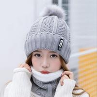 Wholesale pink black scarves for sale - Group buy Neck Warm Knitted Winter Hat For Women Girl Wool Beanies Skullies Letter B Velvet Hat Mask Bonnet Femme Balaclava Scarf