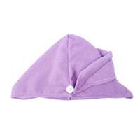 Wholesale purple face towels resale online - 1 PC Magic minifiber Hair Drying Towel Hat Cap Bath Head Wrap Purple