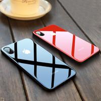 cajas del teléfono celular a prueba de golpes al por mayor-Caja del teléfono celular del espejo de cristal templado para iPhone X XS XR XSMAX 10 8 7 iPhone 6 S 6S Plus 6 Plus 6sPlus 7Plus 8Plus Cubierta a prueba de choques de lujo