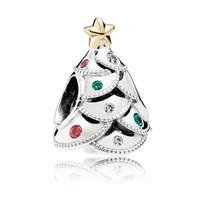 weihnachten murano perlen großhandel-Winter Weihnachtsgeschenk Neue 925 Sterling Silber Pandora Charms Anillos Hohe Qualität Marke Schmuck Weihnachtsbaum Schneemann Perlen Großhandelspreis