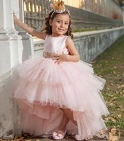 Wholesale puffy princess dresses for girls resale online - High Low Lovely Flower Girl Dress with Sequined Belt Bow Sleeveless Customized Birthday Party Gowns For Elegant Princess Puffy