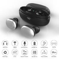 görünmez kulaklık toptan satış-T12 TWS Kablosuz Kulaklık Bluetooth 5.0 Kulaklık Kulak Stereo Müzik Kulaklık Görünmez Kulaklık Eller serbest Şarj Kutusu