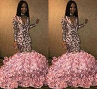 Wholesale purple flower girl jacket online - Black Girls Pink Lace Mermaid Long Prom Dresses Long Sleeves V Neck D Floral Floor Length Evening Gowns Party Dress