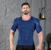 bel yağ yakmak toptan satış-Tanklar Erkek Vücut Şekillendirme Yağ Yakmak Göğüs Karın Bel Eğitmen Zayıflama Vücut Geliştirme Erkek Spor Giyim