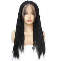 dantel peruk renkleri toptan satış-4 Renkler Siyah Bordo Mor Sarışın Örgüler Peruk Sentetik Dantel Ön Peruk Bebek Saç Büküm Ile Örgülü Yapay Saç Kadınlar Için