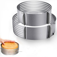 kuchen schicht schneidemaschine großhandel-24-30 Cm Edelstahl Einstellbare Süßwaren Werkzeug Schicht Ausstecher Kuchen Slicer Kreisform Kuchen Dekorieren Tools