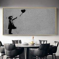 чёрные белые картины любовь оптовых-Черно-белый шар Печать холст граффити Постеры Любовь полотнами Wall Art Pictures Гостиная Декор стены No Frame