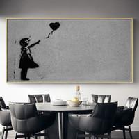 amor negro pinturas blancas al por mayor-Globo blanco y negro Lona Pintada Pósteres Love pinturas de la lona Wall Art Fotos Sala decoración de la pared No Frame
