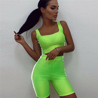 Wholesale fluorescent sports clothing for sale - Group buy Sexy Women Slim Fluorescent Sport Clothes Sets Bandage Crop Tops High Waist Shorts Striped Summer Outfits Sets