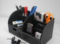 ingrosso contenitori da scrivania-Contenitore per astucci porta penne porta penne organizer per ufficio multifunzione in pelle a 5 scomparti in pelle nera Consegna gratuita A259