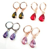 Wholesale popular fashion trends resale online - 2019 new trend European and American popular copper zircon earrings Fashion temperament erhuan foreign trade earrings