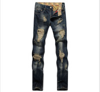 alten jeans-stil großhandel-Designer Herren Jeans Big Hole The Bettler Old Style Gerade Slim Fit Europäische Wiind All Season Jeans