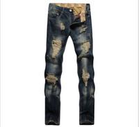 старинный стиль джинсов оптовых-Designer Mens Jeans Big Hole The Beggar Old Style Straight Slim Fit European Wiind All Season Jeans