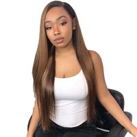 Wholesale brazilian human hair wigs resale online - Straight Ombre Lace Front Human Hair Wigs For Women Brazilian Remy Full Lace Wig Pre Plucked With Baby Hair