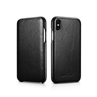 Wholesale iphone flip open online – custom Icarer brand Flip Folio Opening Cover in Curved Edge Design Side Open Ultra Slim Style leather Case for iPhone xs max