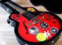 gitarren elektrisch 335 rot großhandel-Custom Made TPP Alvin Lee Gitarre Big Red 335 Pro Tribut Semi Hohlkörper E-Gitarre Block Inlay Hals, HSH Pickup Best Selling