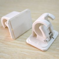 Wholesale white clothes clip for sale - Group buy Curtain Pole Hanging Clip Autohesion One Set Towel Wall Hooks Hangings Rod Holder White Portable sn C1